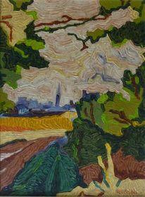 Malerei, Landschaft, Dorfansicht, Feld