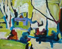 Landschaft, Grün, Park, Malerei