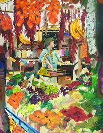 Malerei, Obst gemüse, Stadt, Pflanzen