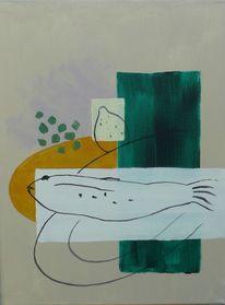 Ocker, Fisch, Malerei, Zitrone