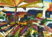 Malerei, Stadt, Menschen, Obst gemüse