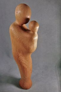 Skulptur, Geborgenheit, Holz, Mutter