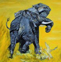 Elefant, Kräftemessen, Malerei