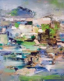 Abstrakte kunst, Blau, Zeitgenössische malerei, Grün