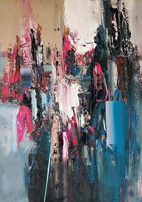 Spachteltechnik, Gemälde, Blau, Moderne malerei