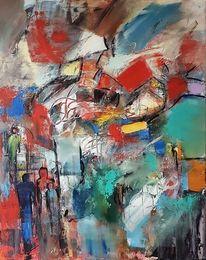 Zeitgenössische malerei, Blau, Abstrakte malerei, Abstrakte kunst