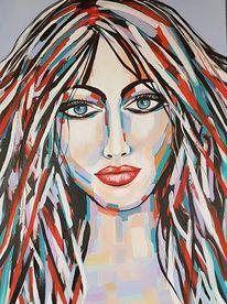 Portrait, Gemälde abstrakt, Frau, Moderne malerei