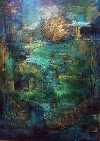 Zeitgenössische malerei, Grün, Moderne malerei, Gemälde abstrakt