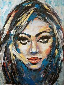 Portrait abstrakt, Expressive malerei, Abstrakte malerei, Zeitgenössische malerei