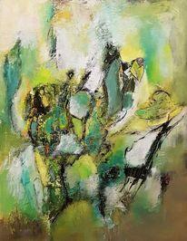 Gemälde, Spachteltechnik, Grün, Moderne kunst