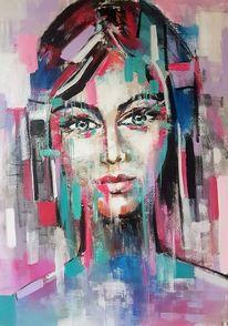 Zeitgenössische kunst, Frau, Acrylmalerei, Abstrakte kunst