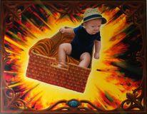 Malerei, Rahmen, Portrait, Explosion