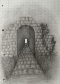 Bleistiftzeichnung, Tunnel, Zeichnung, Zeichnungen