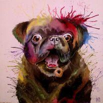 Acrylmalerei, Bunt, Mops, Malerei