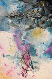 Geflügelte wesen, Surreal, Farben, Schweben
