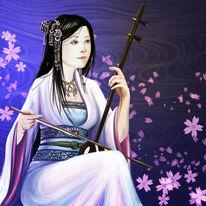 Frau, Blau, Asien, Zeichnung
