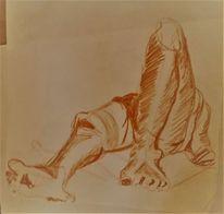 Fuß, Von unten, Zeichnung, Liegend