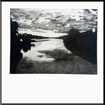Aquatinta radierung, Rhein, Wolken, Schwarz