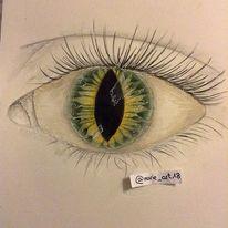 Grün, Schwarz, Augen, Zeichnung
