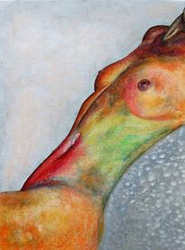 Akt, Aquarellmalerei, Bauch, Acrylmalerei