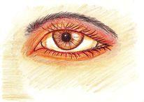 Menschen, Mischtechnik, Augen, Gelb