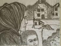 Krieg, Zeichnung, Mutter, Mischtechnik