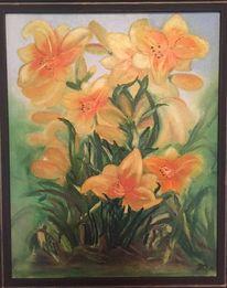 Grün, Ölmalerei, Blumen, Gelb