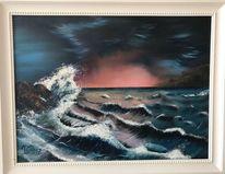 Weiß, Meer, Welle, Abendrot