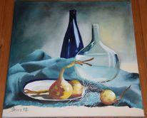 Teller, Flasche, Blau, Zwiebeln
