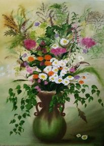Grün, Krug, Ölmalerei, Blumen