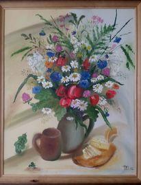 Bunt, Ölmalerei, Krug, Blumen