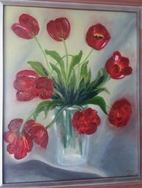 Blumen, Ölmalerei, Rot, Grün