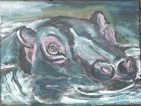 Acrylmalerei, Flusspferd, Tiere, Malerei