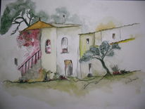 Kloster, Spanien, Treppe, Aquarell