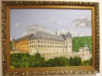 Landschaft, Baum, Schloss, Malerei