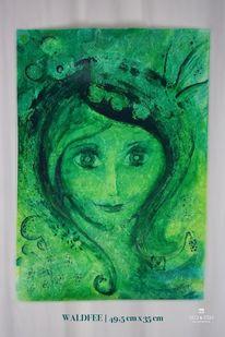Zeichnung, Tafel tyvek, Grün, Frau