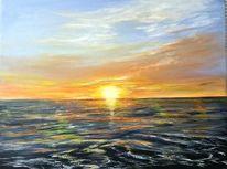 Zeitgenössisch, Sonnenuntergang, Meer, Meerlandschaft