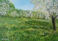 Baum, Wiese, Blühen, Acrylmalerei