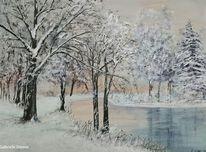 Landschaft, Baum, Landschaftsmalerei, Schnee