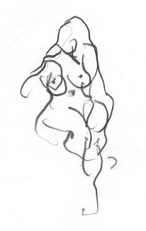Akt, Zeichnung, Frau, Grafit