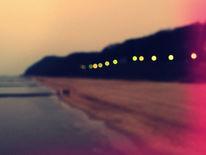 Strand, Unschärfe, Regen, Landschaft