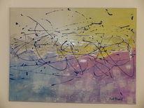 Lila, Blau, Acrylmalerei, Silber