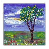 Gemälde, Baum, Gras, Himmel