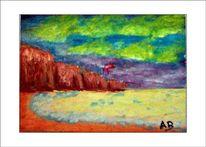 Ölmalerei, Strand, Meer, Himmel
