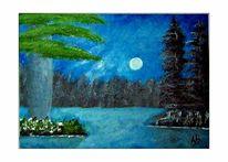 Landschaftsmalerei, See, Wald, Baum