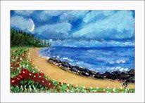 Ölmalerei, Strand, Sommer, Stein