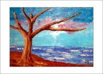 Küste, Ölmalerei, Baum, Landschaft