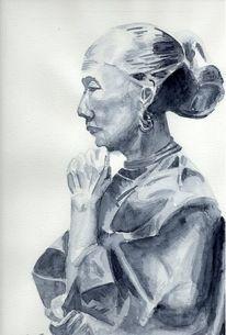 Nachdenkliche frau, Aquarellmalerei, Lutz lila, Chinesische frau