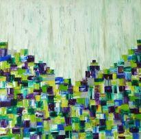 Malerei, Gelb, Violett, Abstrakt