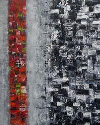 Malerei, Rot schwarz, Grün, Mosaik